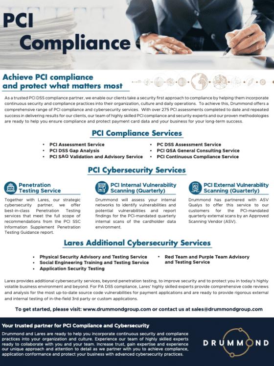 PCI Compliance Data Sheet